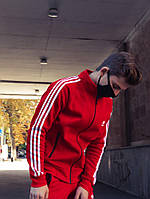 Теплая олимпийка мужская в стиле Adidas Round красная