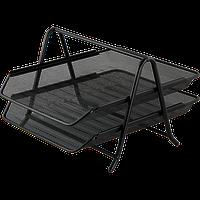 Горизонтальный лоток для бумаг 2 в 1 260х350х290 мм металлическийий черный Buromax (Im)