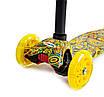 Дитячий самокат MAXI Карусель жовтий, світяться колеса, фото 2