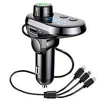 Трансмиттер FM MOD. CAR Q15 BT + кабель 3 в 1 (micro USB, Iphone, Type C)