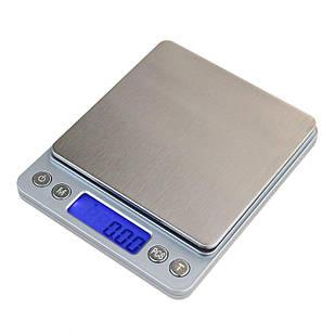 Ювелирные электронные весы с 2мя чашами 0.01- 500 грам + батарейки Серебристый (44106)