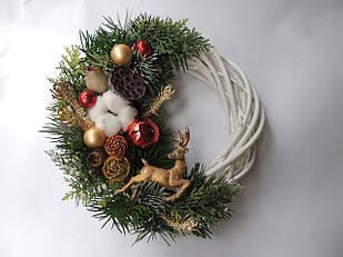 Новогодний рождественский венок с натуральным декором №4 25 см Зеленый (9590034IK)