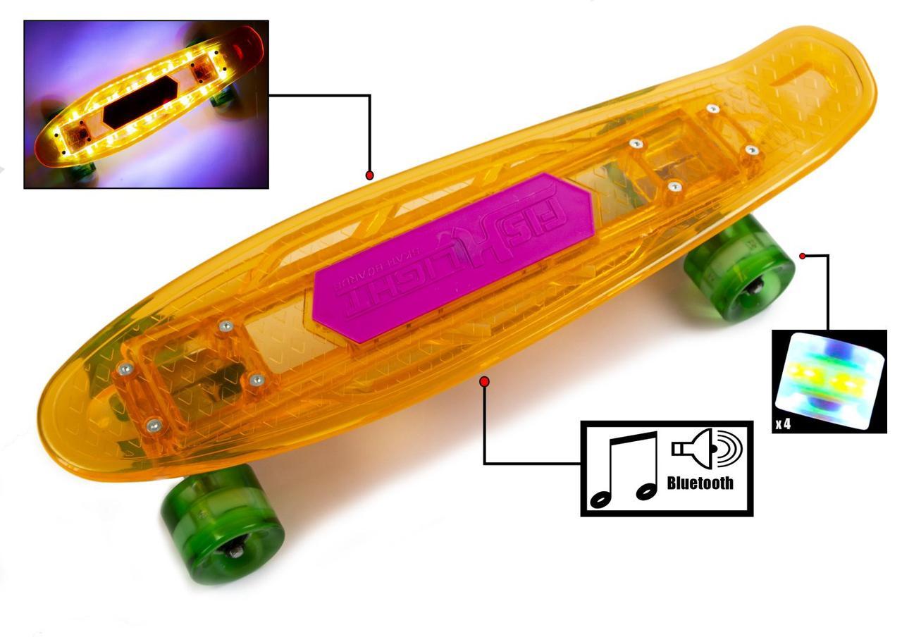 """Прозорий Penny """"Fish Skateboard Original"""" помаранчевий, музична і світиться дека"""
