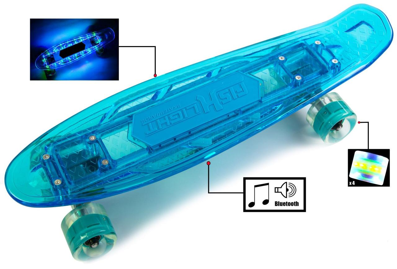 """Прозрачный Penny """"Fish Skateboard Original"""" синий, музыкальная и светящаяся дека"""