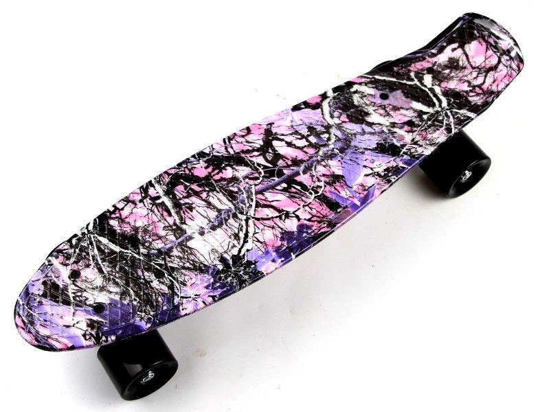 "Скейт Penny Board ""Forest"" з малюнком, чорні колеса"