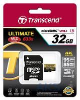 Карта памяти Transcend 32GB microSDHC Class 10 Ultimate UHS-I U3 R95/W85MB/s 4K Video + SD Adapter (TS32GUSDU3)