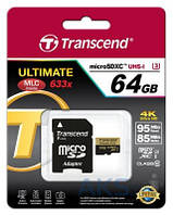 Карта памяти Transcend 64GB microSDXC Class 10 Ultimate UHS-I U3 R95/W85MB/s 4K Video + SD Adapter (TS64GUSDU3)
