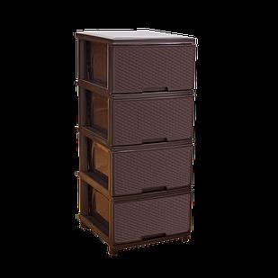 Комод Ротанг 4-х секционный Темно-коричневый (18-123094-3)