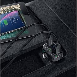 FM-трансмиттер модулятор Baseus + АЗУ T-Typed Bluetooth FM Launcher 3,4 A 2USB black (CCTM-01)