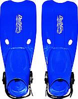 Детские открытые ласты на ремешках М 0033 U/R, синего цвета, размер 36-38, длина 51 см