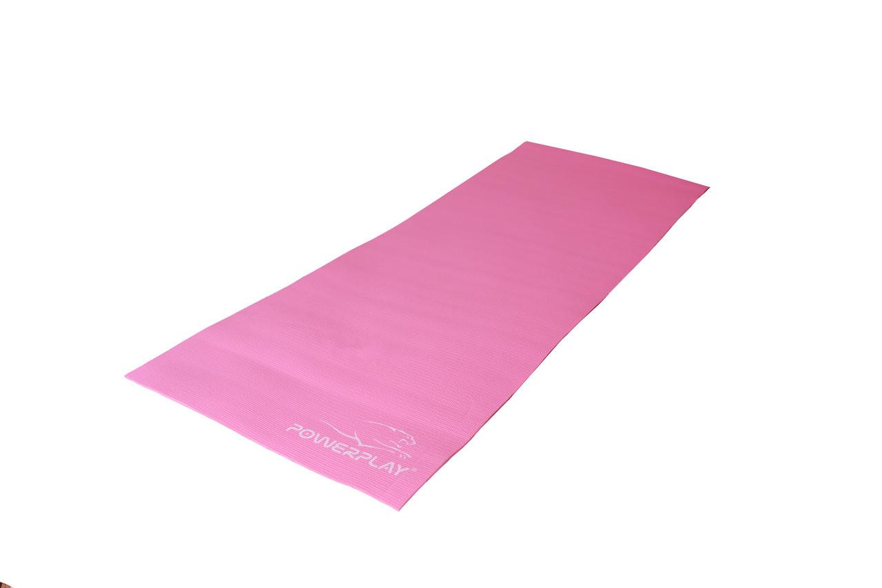 Коврик для фитнеса и йоги PowerPlay 4010 183х61х0.4 см Розовий (36-143915)