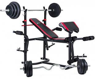 Набор Hop-Sport HS-1020 Premium 124 кг со скамьей (3-2880171)