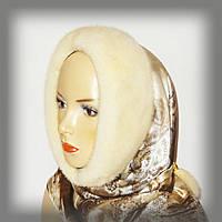 Меховой капор из норки на Итальянском шёлке (жемчуг), фото 1