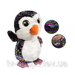 """М'яка іграшка глазастик з паєтками """"Пінгвін"""",24 см"""