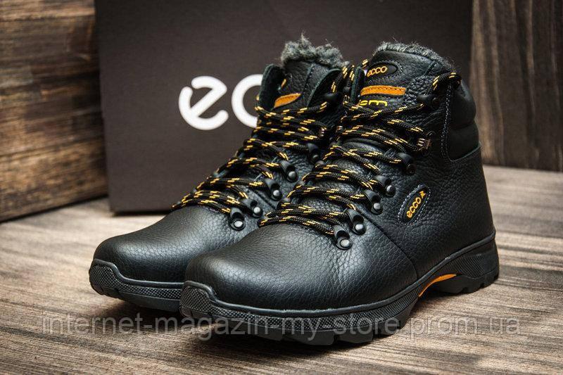 Мужские зимние кожаные ботинки Ecco Tracking Black