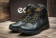 Мужские зимние кожаные ботинки Ecco Tracking Black, фото 1