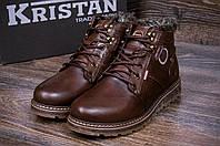 Мужские кожаные зимние ботинки Kristan clasic brown, фото 1