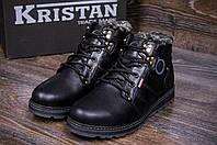 Мужские кожаные зимние ботинки Kristan clasic black, фото 1