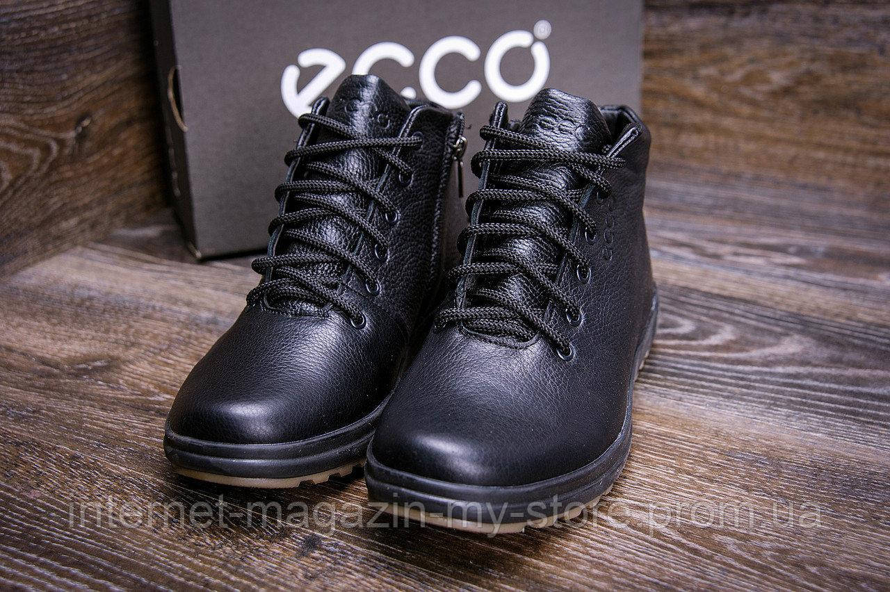 Мужские  зимние кожаные ботинки Ессо  black New Line