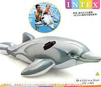 Детская надувная игрушка плотик дельфин с ручками держателями 201х76 см