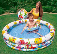 Детский надувной бассейн тропические рыбки Intex 132х28 см: бассейн, круг, мяч