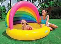 Детский надувной бассейн с тентом ракушка интекс Intex 163х112х102см