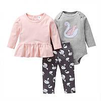 Комплект для девочки 3 в 1 Принцесса-лебедь Berni Розовый с серым (51819)