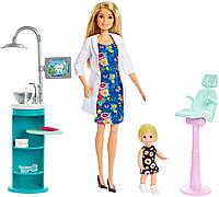 Оригинальный детский игровой набор кукла Барби Стоматолог блондинка Barbie Dentist Doll & Playset FXP16