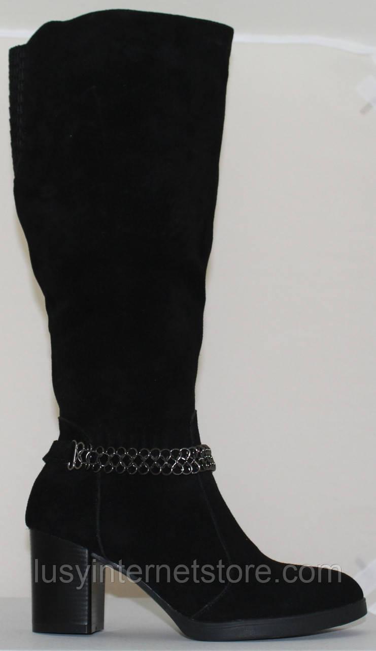 Сапоги женские замшевые зимние на каблуке от производителя модель СВ7049