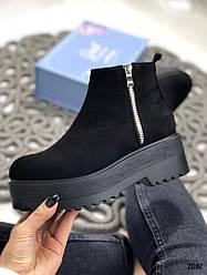 Деми женские черные ботинки на молнии эко-замша