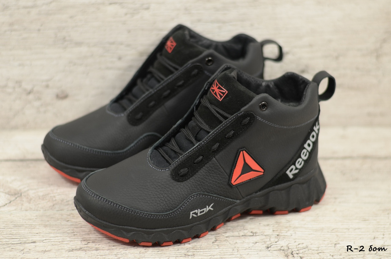 Мужские кожаные зимние ботинки Reebok (Реплика) (Код: R-2 бот  ) ►Размеры [42,43,44]