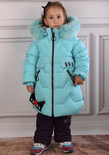 Детское зимнее пальто для девочки от  Kiko  4977, размеры 104-128