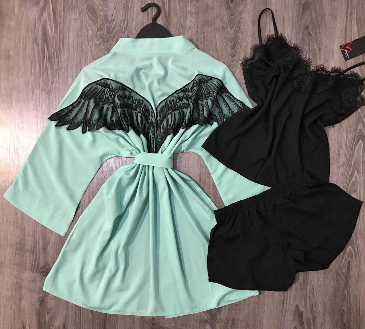 Хлопковый комплект, халат с крыльями+ черная пижама