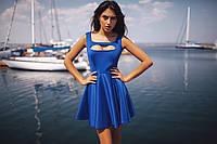 Короткое синее платье с короткими рукавами