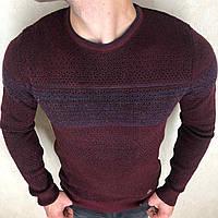 Молодежный свитер Турция L-XL (48-50). Джемпер шерстяной мужской приталенный для мужчин. Бордо