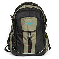 Зеленый рюкзак 8518 green из нейлона с плотной спинкой школьный спортивный, фото 1