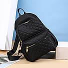 Женский стёганый рюкзак чёрный, водонепроницаемый., фото 3