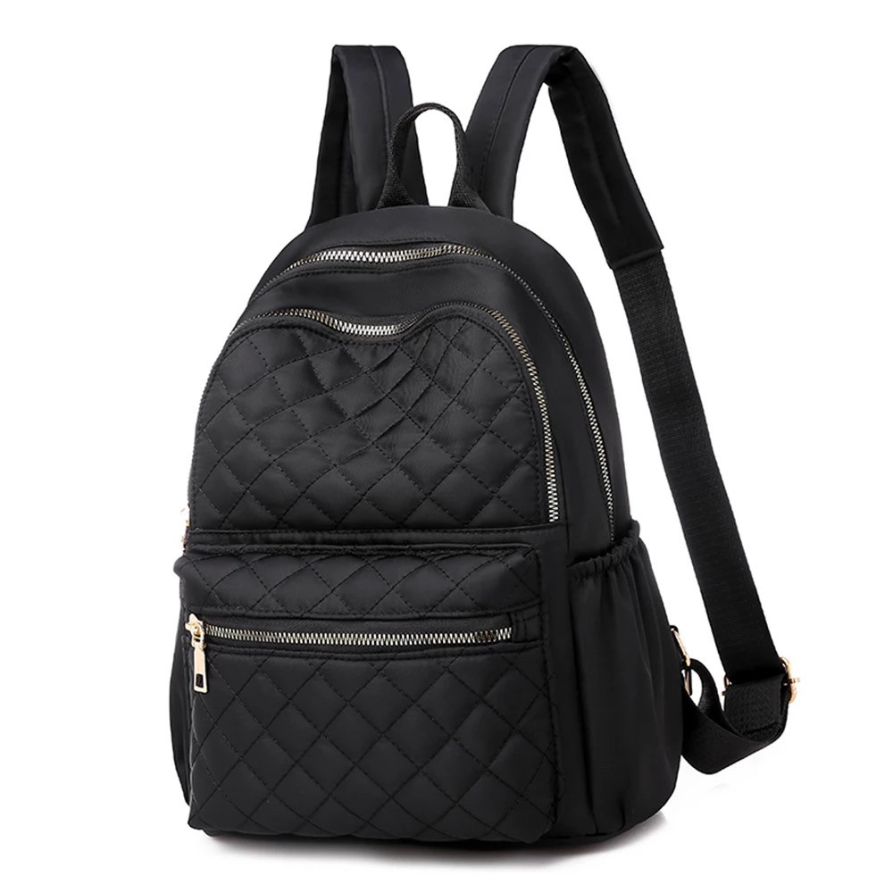 Женский стёганый рюкзак чёрный, водонепроницаемый.