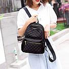 Женский стёганый рюкзак чёрный, водонепроницаемый., фото 5