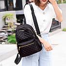 Женский стёганый рюкзак чёрный, водонепроницаемый., фото 4