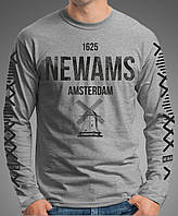 "0069-LS-GM  Мужская футболка-лонгслив "" Амстердам"" (Испания).серая"