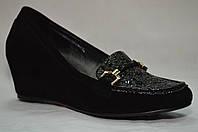 Черные замшевые туфли Erisses на скрытой танкетке,большие размеры