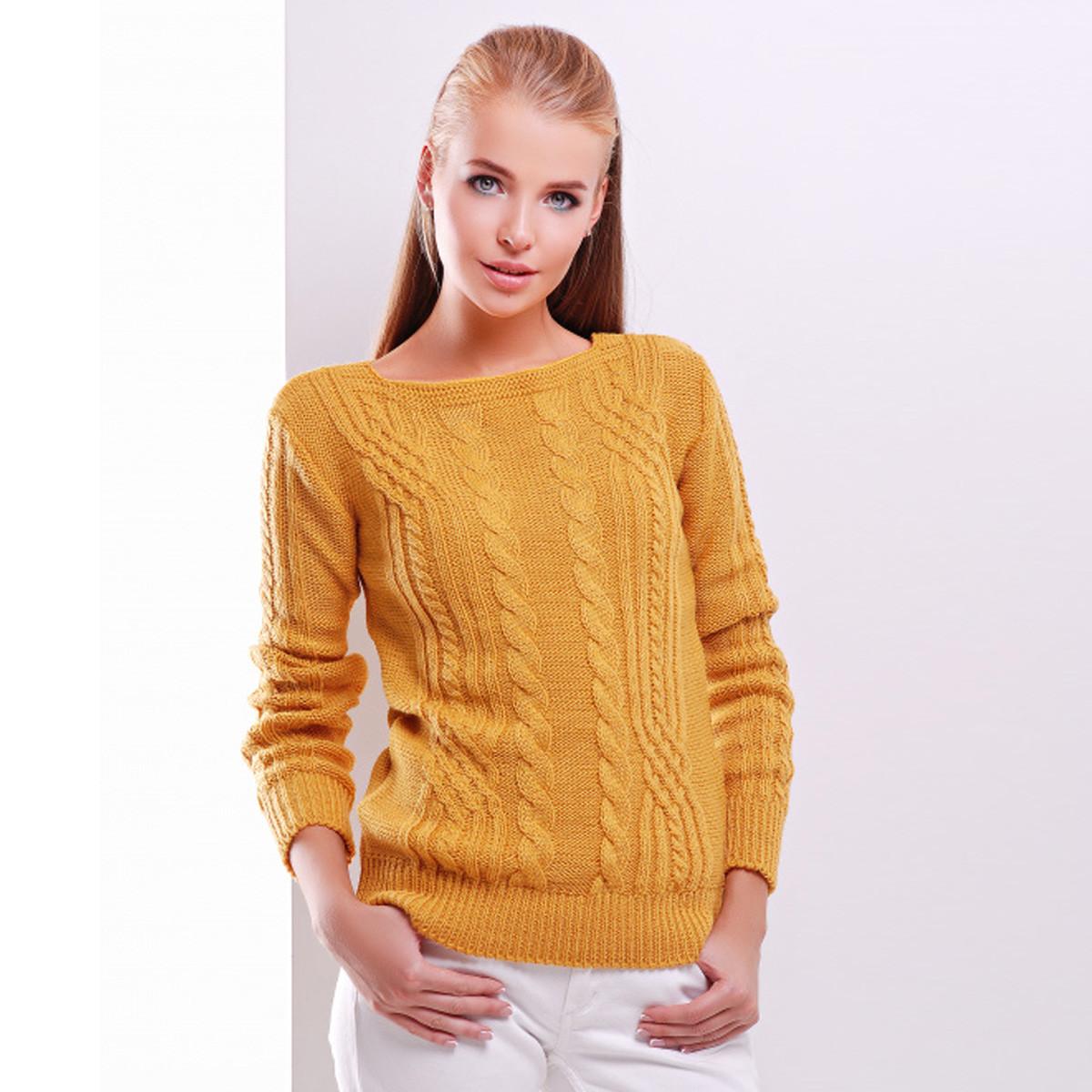 """Гірчичний жіночий светр в'язаний """"Блейд"""""""