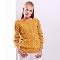 """Гірчичний жіночий светр в'язаний """"Блейд"""", фото 1"""
