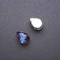 Пришивной кристалл в цапе Капля 10х14мм синий