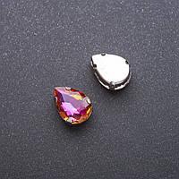 Пришивной кристалл в цапе Капля 10х14мм оранжево малиновый