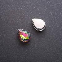 Пришивной кристалл в цапе Капля 10х14мм сине-жёлтый
