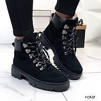 Ботинки женские замшевые демисезонные черные на шнуровке, фото 1