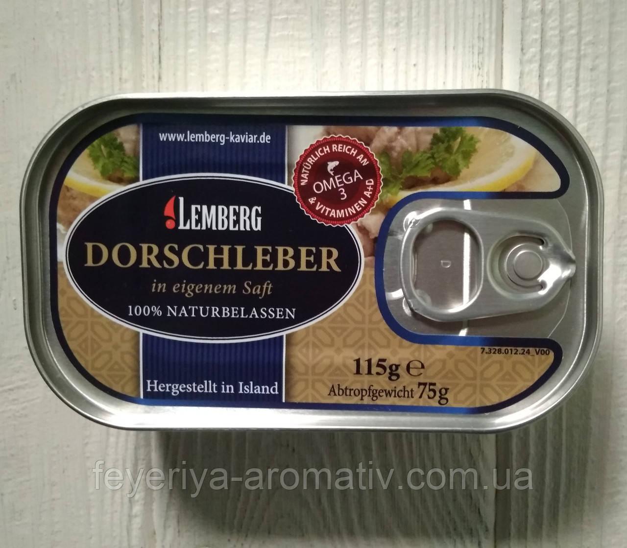 Печень трески в собственном соку Lemberg 115g (Германия)