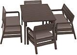 Набор садовой мебели Delano Set With Lima Table Brown ( коричневый ) из искусственного ротанга ( Allibert ), фото 10